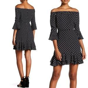 Lea&Viola Black/White Polka Dot Off Shoulder Dress